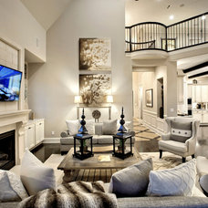 Transitional Family Room by Possibilities for Design Inc.