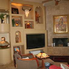 Mediterranean Family Room by Ellis Design Group, LLC