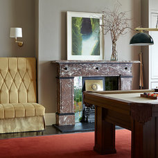 Transitional Family Room by Eoin Lyons Interiors