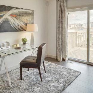 Immagine di un piccolo soggiorno classico aperto con pareti bianche, pavimento in laminato, camino sospeso e pavimento grigio