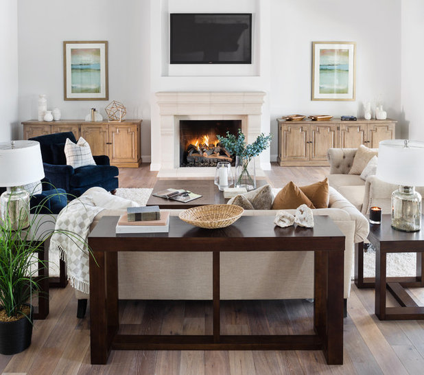 Transitional Family Room by Moreau Design