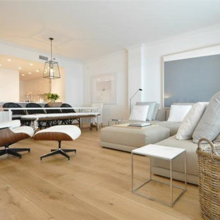 Example of a trendy family room design in Philadelphia
