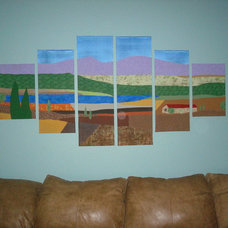 Contemporary Family Room Fabric Art