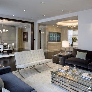 Idée de décoration pour une salle de séjour design ouverte et de taille moyenne avec un mur blanc, un sol en bois foncé, un sol noir et aucune cheminée.