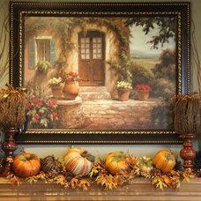 Traditional Family Room Fall Decor