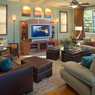 Inspiration for a contemporary family room remodel in San Diego
