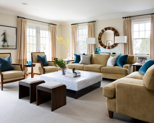 Example Of A Transitional Medium Tone Wood Floor Family Room Design In Toronto With Beige Walls