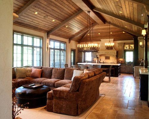 ejemplo de sala de estar con barra de bar abierta rstica grande con
