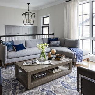 Foto di un soggiorno classico di medie dimensioni e stile loft con pareti grigie e nessun camino