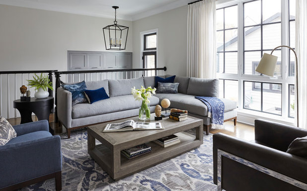 Transitional Family Room by Amy Kartheiser Design