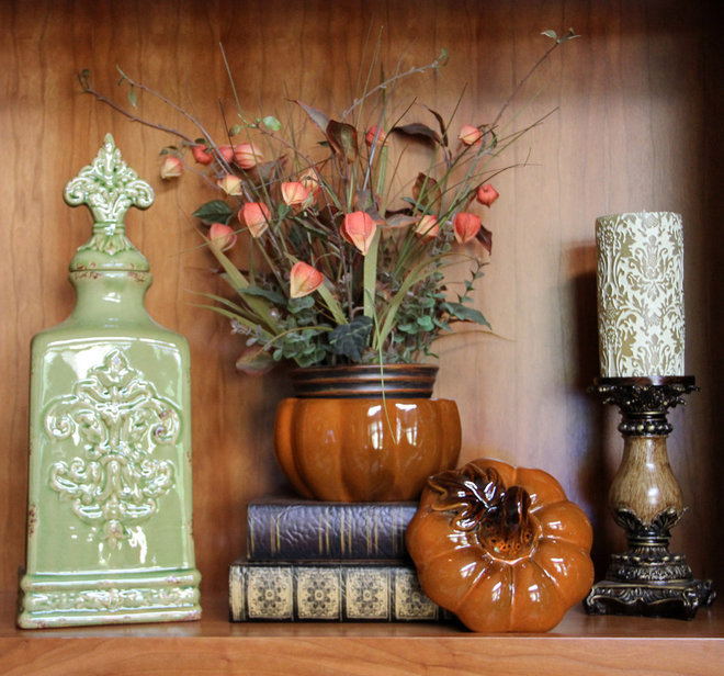 Traditional Family Room Family Room Bookcase Decorated For Fall