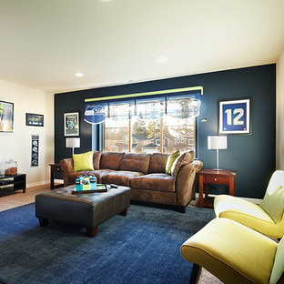 Inspiration for a large contemporary enclosed carpeted game room remodel in Seattle with blue walls, no fireplace and a wall-mounted tv