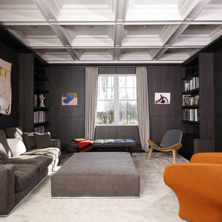 Family room - contemporary family room idea in New York with a concrete fireplace