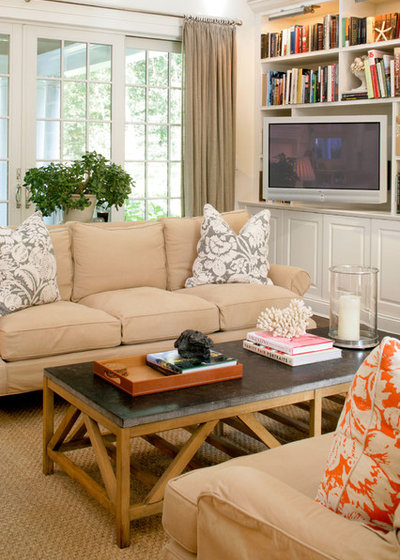 Transitional Family Room by Design House