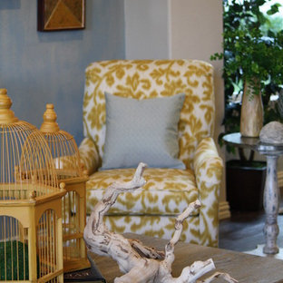 Inspiration for a rustic family room remodel in Dallas with blue walls