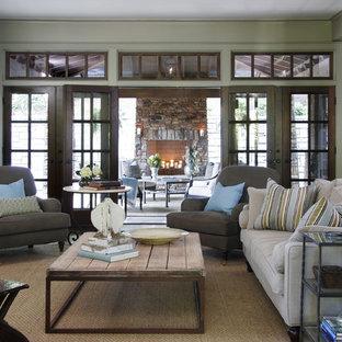 Family room - traditional carpeted family room idea in Atlanta