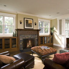 Craftsman Family Room by Great Rooms Designers & Builders