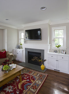 Built In Shelves Around Electric Fireplace