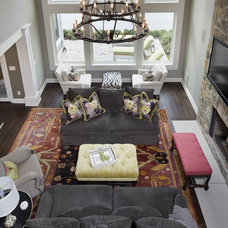 Transitional Family Room by Hoskins Interior Design