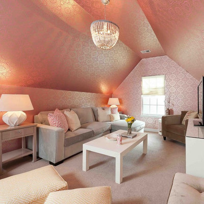Transitional family room photo in DC Metro with pink walls