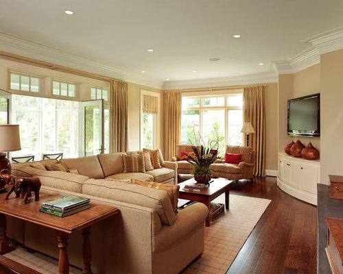 family room ideas with tv. Example of a classic medium tone wood floor family room design in  Cincinnati with beige walls Corner Tv Family Room Ideas Photos Houzz