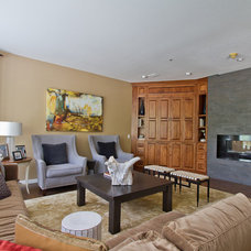 Transitional Family Room by Interiors by LK