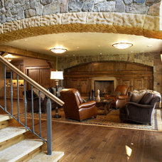 Rustic Family Room by Karen Hodgdon, Allied ASID