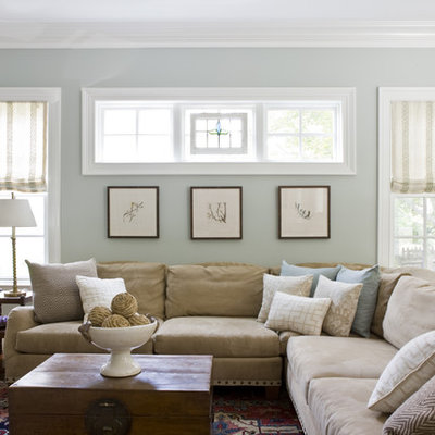 Elegant enclosed carpeted family room photo in DC Metro with blue walls, no fireplace and no tv