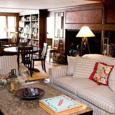 Farmhouse Family Room by LKM Design