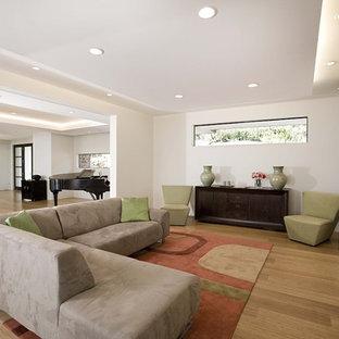 サンフランシスコのコンテンポラリースタイルのおしゃれなファミリールーム (白い壁、竹フローリング、標準型暖炉) の写真