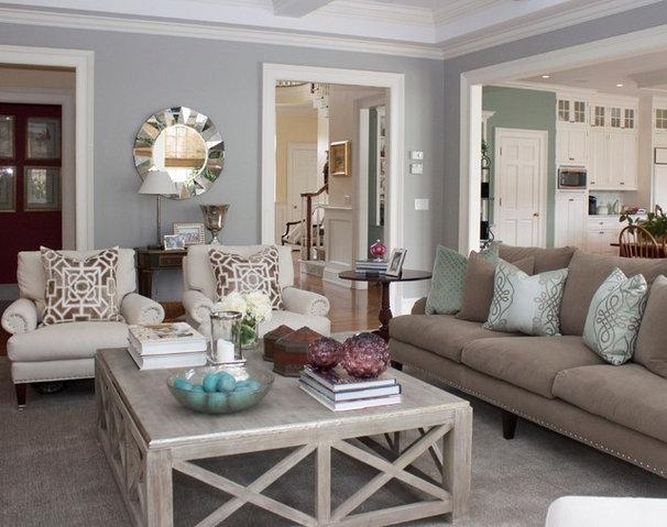Transitional Family Room by Charette Interior Design, Ltd.
