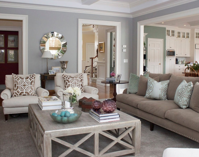 Transitional Family Room by Charette Interior Design, Ltd.