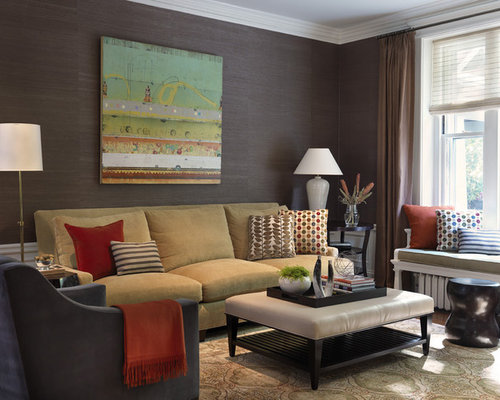 Traditional Enclosed Family Room Idea In Boston With Brown Walls And Carpet