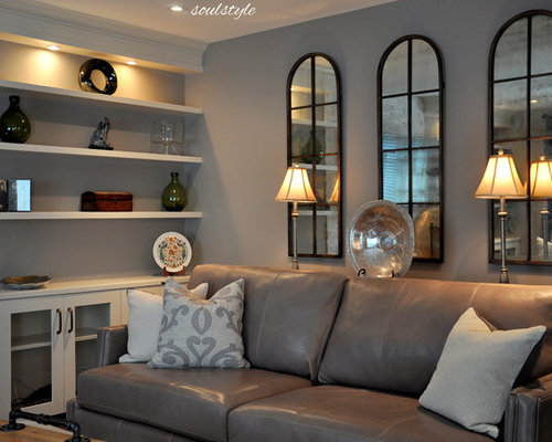 gray leather couch design ideas remodel pictures houzz