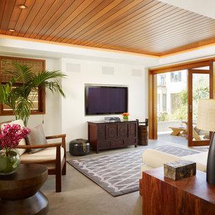 ロサンゼルスの中サイズのトロピカルスタイルのおしゃれなファミリールーム (白い壁、壁掛け型テレビ、コンクリートの床、グレーの床) の写真