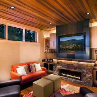 Modelo de sala de estar rural con marco de chimenea de piedra