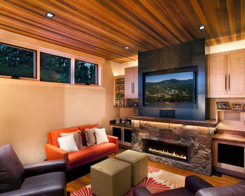 Light Stone Fireplace   Houzz