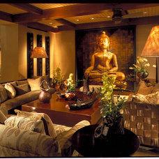 Asian Family Room by Saint Dizier Design