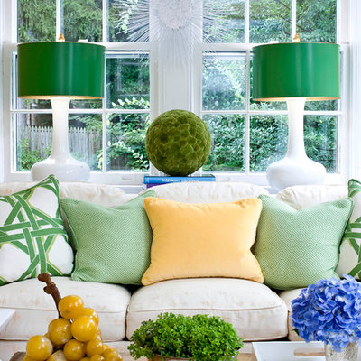 Family room - traditional family room idea in DC Metro with white walls