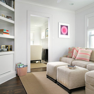 Small Coastal Enclosed Dark Wood Floor Family Room Photo In Newark With  White Walls