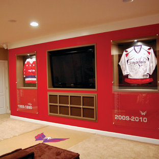 Large trendy open concept carpeted game room photo in DC Metro with a media wall, red walls and no fireplace
