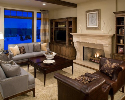 Example Of An Arts And Crafts Family Room Design In Minneapolis With Beige  Walls, Dark Part 78