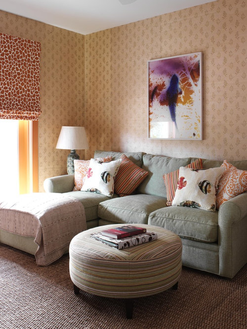 Inspiration For A Mid Sized Beach Style Enclosed Carpeted Family Room  Remodel In New York