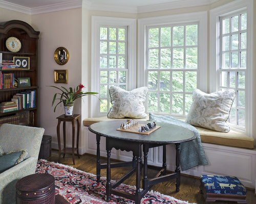 inspiration for a victorian dark wood floor family room remodel in richmond with beige walls