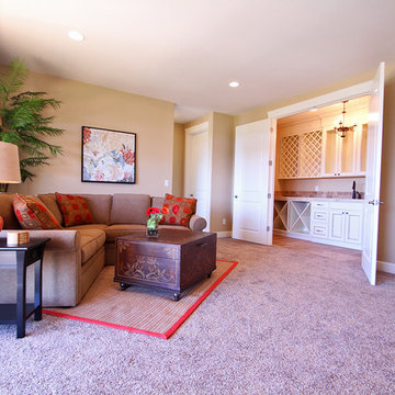 Family Room + Wet Bar - The Ridgeback - Craftsman Ranch with Daylight Basement