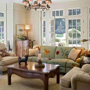 Inspiration for a timeless family room remodel in Philadelphia with beige walls
