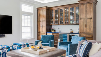 Family room with wet bar and storage