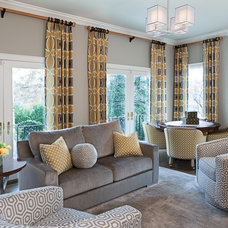 Transitional Family Room by Details Interiors, LLC