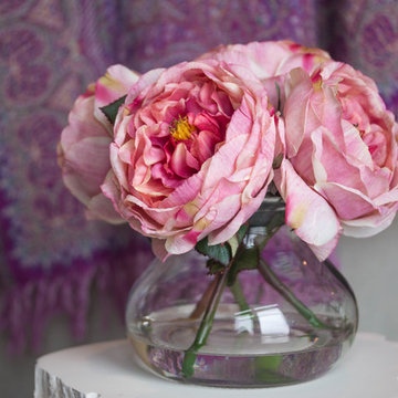 Family Rooms with Nearly Natural Silk Florals, Pink Rose
