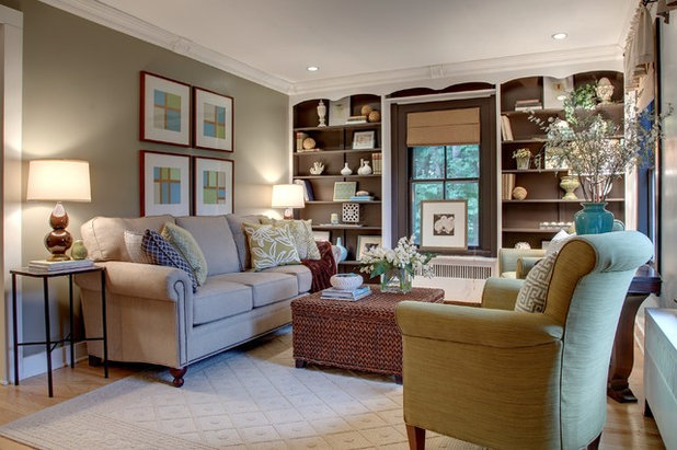 Transitional Family Room by Kristen Wall, a Smith & Noble In-Home Designer